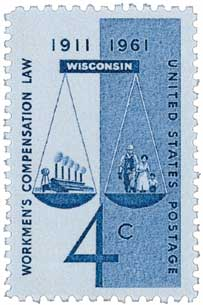 1961 Workers Compensation Insurance 50 Anniversary Stamp
